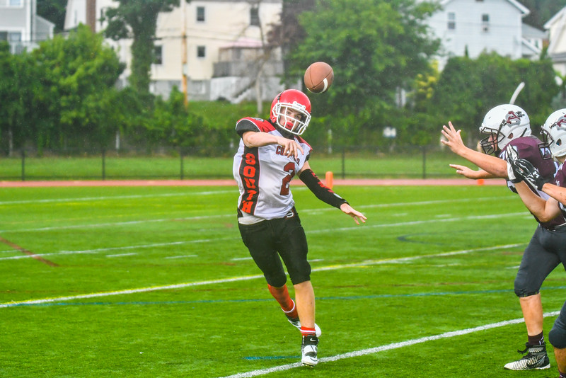 South quarterback Keith Berthiaume fires a pass. Nashoba Valley Voice/Ed Niser