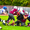 Ayer Shirley's Lucas Sargent and Leo Farrell converge for a tackle during Saturday's loss to West Boylston. Nashoba Valley Voice/Ed Niser