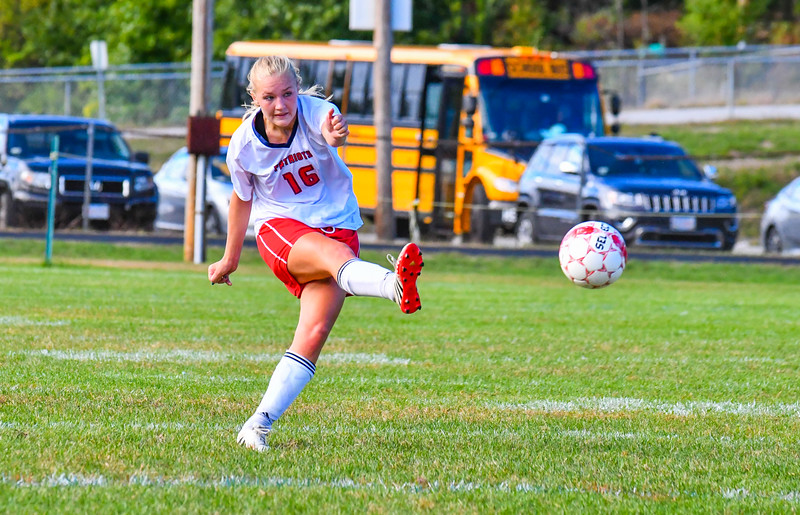 North Middlesex's Kelsey Bergquist fires a kick during Monday's win over Hudson. Nashoba Valley Voice/Ed Niser