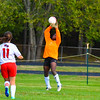North Middlesex freshman goalkeeper Catherine Nkwantah makes a save. Nashoba Valley Voice/Ed Niser