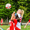 North Middlesex's Annika Jurgilewicz sizes up a header during Monday's win over Hudson. Nashoba Valley Voice/Ed Niser