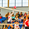 North Middlesex's Madeline Harrington follows through on a spike at the net during Tuesday's win over Hudson. Nashoba Valley Voice/Ed Niser