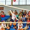 North Middlesex's Madeline Harrington prepares to spike the ball during Tuesday's win over Hudson. Nashoba Valley Voice/Ed Niser