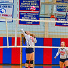 North Middlesex's Sarah Kleeman follows through on a spike during Tuesday's win over Hudson. Nashoba Valley Voice/Ed Niser