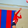 North Middlesex junior libero Sydney Roberts serves the ball during Tuesday's win over Hudson. Nashoba Valley Voice/Ed Niser