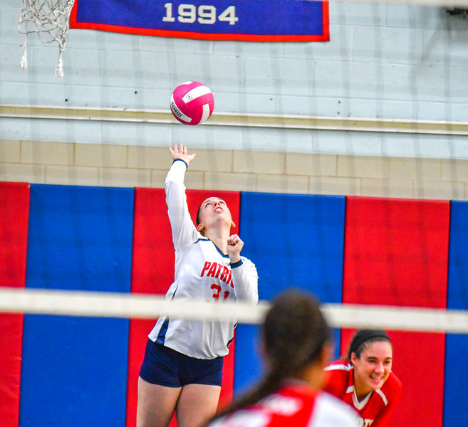 North Middlesex junior outside hitter Sarah Kleeman spikes the ball during Tuesday's win over Hudson. Nashoba Valley Voice/Ed Niser