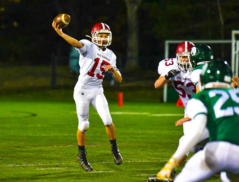 Fitchburg quarterback Andrew Brooks slings a pass during Thursday's win. Sentinel  & Enterprise/Ed Niser