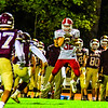 North Middlesex's Jake Hachey hauls in a screen pass along the Algonquin sideline. Nashoba Valley Voice/Ed Niser