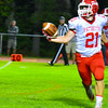 North Middlesex wide receiver Zac Wheeler hauls in a one-handed catch during Friday night's loss to Algonquin. Nashoba Valley Voice/Ed Niser