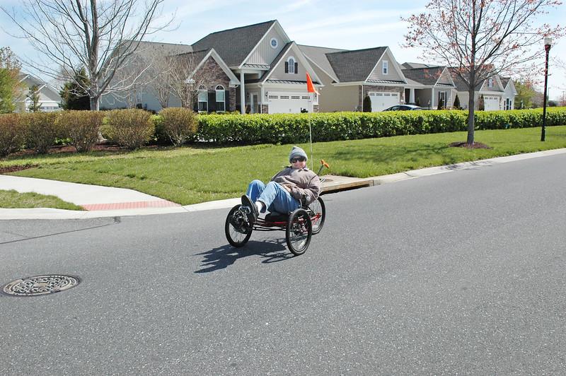 Sid Stein, 92, rides around the neighborhood.