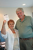 That's Bridgeville commission president, Pat Correll with tickets for sale assigned to her  by Heritage Shores Military Club officer, John Barr.  The Club is having a pancake breakfast soon at Applebee's.