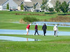 After days of rain, October 8 and 9th , 2016, the neighborhood was a little flooded.  Here are golfer back on 9th where the water hasn't totally receded