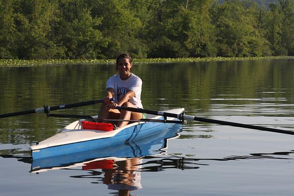 M.A. rowing a single, 07/11