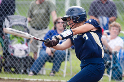 JOSH KAUFMANN, Essex Reporter Essex senior Jessica Barnett puts a ball in play during Monday's Division I softball semifinal against Missisquoi.
