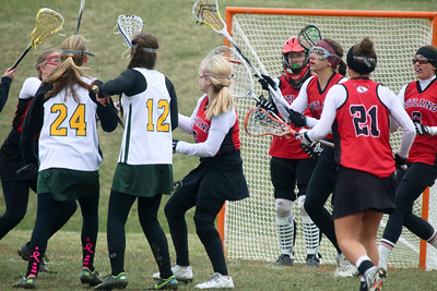 Not sure who is on left. Rest are L-R Alicia Williams (5), goalie Kelsey Eddy, Danielle Laird (13), Logan Boyle (21) and Catherine DePalma (6) defending late in the first half.