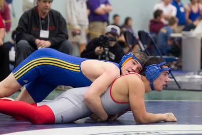 JOSH KAUFMANN, St. Albans Messenger Milton's Ian Kandzior wrestles Saturday morning in the Michael Baker Tournament at Essex H.S. Kandzior won this match in the consolation round by pin.