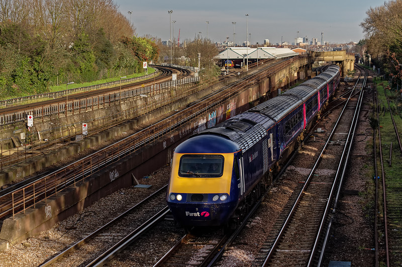 43170 / 43020 passing Wimbledon Park with 1C12, <br /> the 10:39 Waterloo - Bristol Temple Meads, on 28th December 2015.
