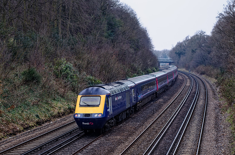 43150 / 43179 approaching Farnborough station with 1V40, the 11:07 Waterloo - Penzance, on 1st April 2013.