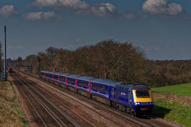 43143 / 43093 running between Hook and Winchfield with 1O40, <br /> the 06:45 Penzance - Waterloo, on 6th April 2015.