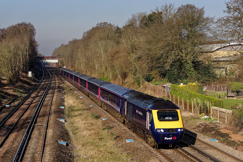 43147 / 43151 approaching Hook station with the 05:46 Exeter - Waterloo, on 6th April 2015.