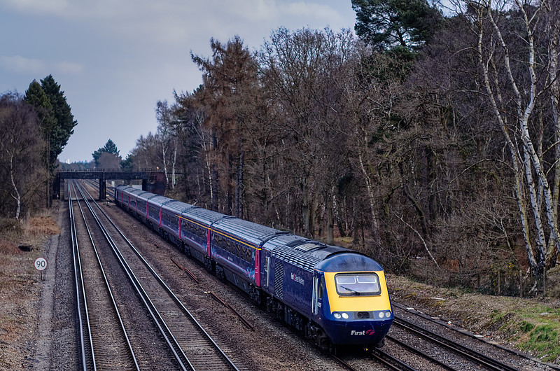 43182 / 43010 passing Pirbright Junction with 1V75, the 14:07 Waterloo - Penzance, <br /> on 1st April 2013.