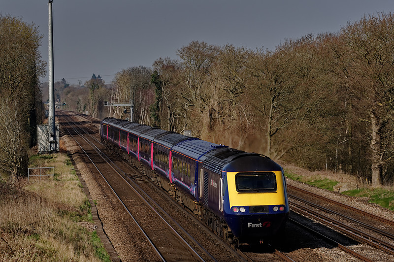 43147 / 43151 running between Winchfield and Hook with 1V36, <br /> the 10:07 Waterloo - Plymouth, on 6th April 2015.