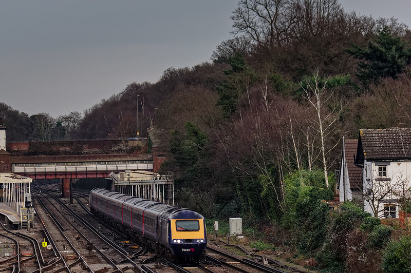 43032 / 43023 passing Weybridge with 1C86, the 14:07 Waterloo - Penzance, <br /> on 28th December 2015.