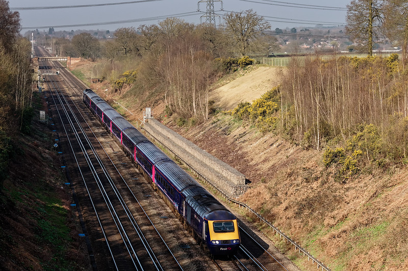 43009 / 43003 running between Hook and Winchfield with the 06:00 Plymouth - Waterloo, <br /> on 6th April 2015.