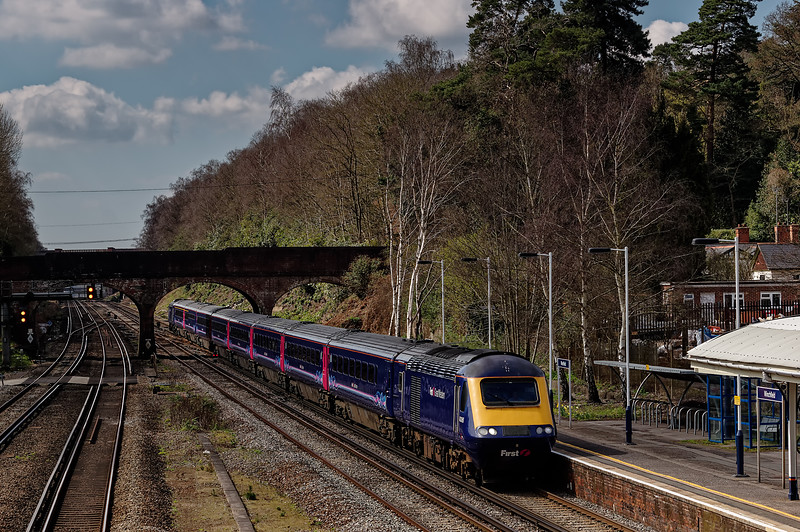 43028 / 43086 passing Winchfield with the 07:41 Penzance - Waterloo, on 6th April 2015.