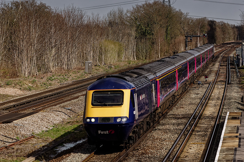 43070 / 43002 passing Winchfield station with the 13:07 Waterloo - Penzance, <br /> on 6th April 2015.