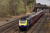 43143 / 43093 passing Pirbright Junction with the 14:07 Waterloo - Penzance, <br /> on 6th April 2015.