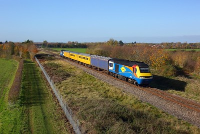 43060 leads 43050 on 1Z22 Tyseley to Bristol High level test train at Lower Moor on 4 November 2020  ColasHST, CotswoldLine, TestTrain