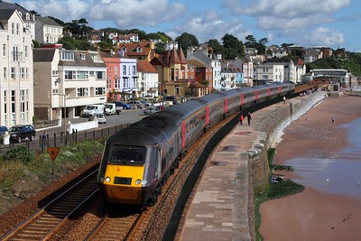 43366+43303 on the 1V44 0600 Leeds to Plymouth at Dawlish on the 28th August 2015