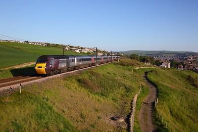 43303+43304 on the 1V50 0606 Edinburgh to Plymouth departing Berwick upon Tweed at Spittal on the 10th June 2019