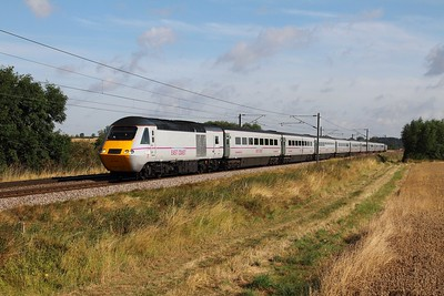 43206 tnt 43251 on the 1Y16 0722 Newcastle to London Kings Cross at Cromwell near Newark on the 9th August 2014 - all MK3 coaches in EC grey livery