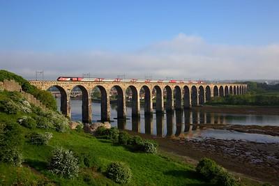 43296+43315 on the 1S21 1430 London Kings Cross to Edinburgh at Borders viaduct, Berwick on the 27th May 2018