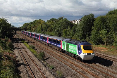 43126 tnt 43070 on the 1L52 1028 Swansea to London Paddington at Undy on the 18th September 2015