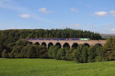 43012+43087 on the 1A27 1510 Plymouth to Paddington through 43165+43186 on the 1C81 1157 Paddington to Liskeard at Blatchford viaduct on the 27th September 2015