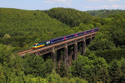 43002+43148 on the 1C77 1006 London Paddington to Penzance at St Pinnock viaduct on the 17th June 2017