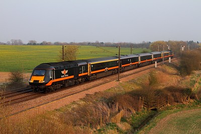 43467+43484 on the 1N94 Kings Cross to Sunderland at Burn on the 9th April 2015 Notice the gold doors!