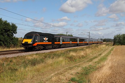 43467 tnt 43480 on the 1A61 0830 Sunderland to Kings Cross at Cromwell near Newark on the 9th August 2014