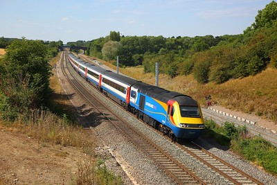 43058+43046 on the 1B51 1349 Nottingham to St Pancras International at Sharnbrook on the 5th August 2018