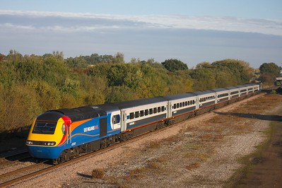 43055 leading 43048 at Finedon Station Road near Kettering on a St Pancras service on the 11th October 2008