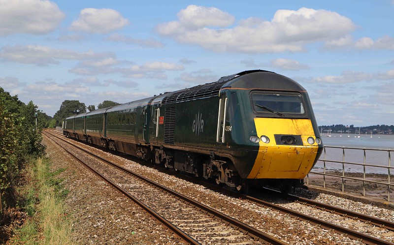 43194/43160, 13.18 Exeter St David's-Penzance, Powderham, near Starcross, 25-8-21.