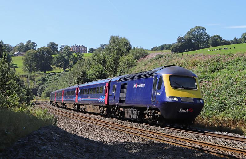 43063/43022, 12.53 Paignton-Cardiff Central, Marlands, near Wellington, 23-8-19.