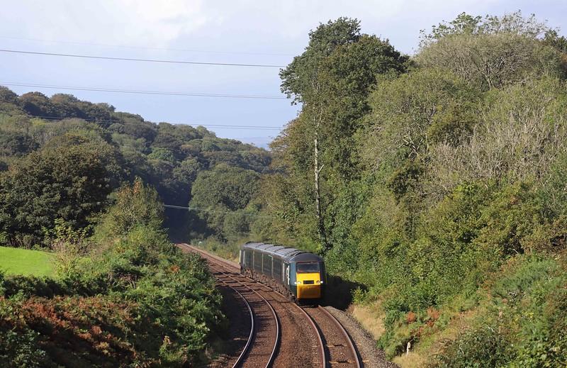 43016/43005, 08.50 Penzance-Exeter St David's, Hemerdon Summit, near Plymouth, 1-10-21.