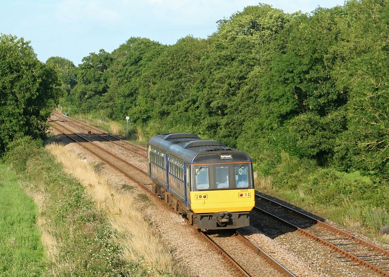 142029, 18.27 Exmouth-Barnstaple, Gunstone Mill, near Crediton, 22-7-09.