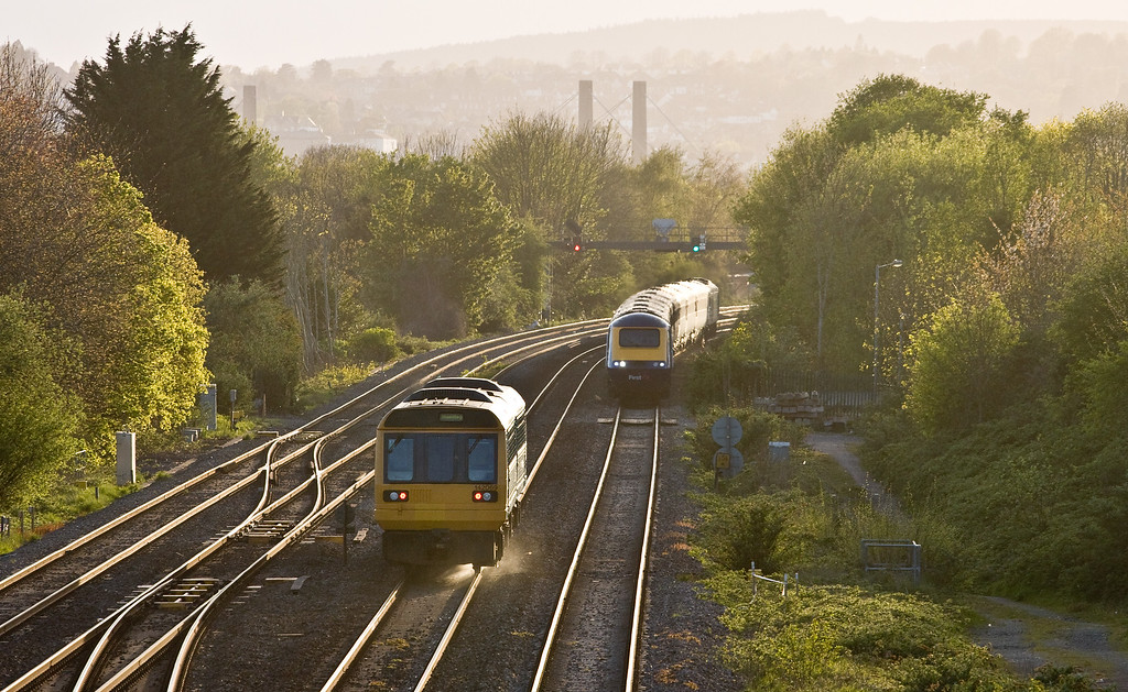 142069, 18.45 Cheltenham Spa-Maesteg, Llanwern West Junction, near Newport, 4-5-16. HST, 18.28 Swansea-London Paddington (late).