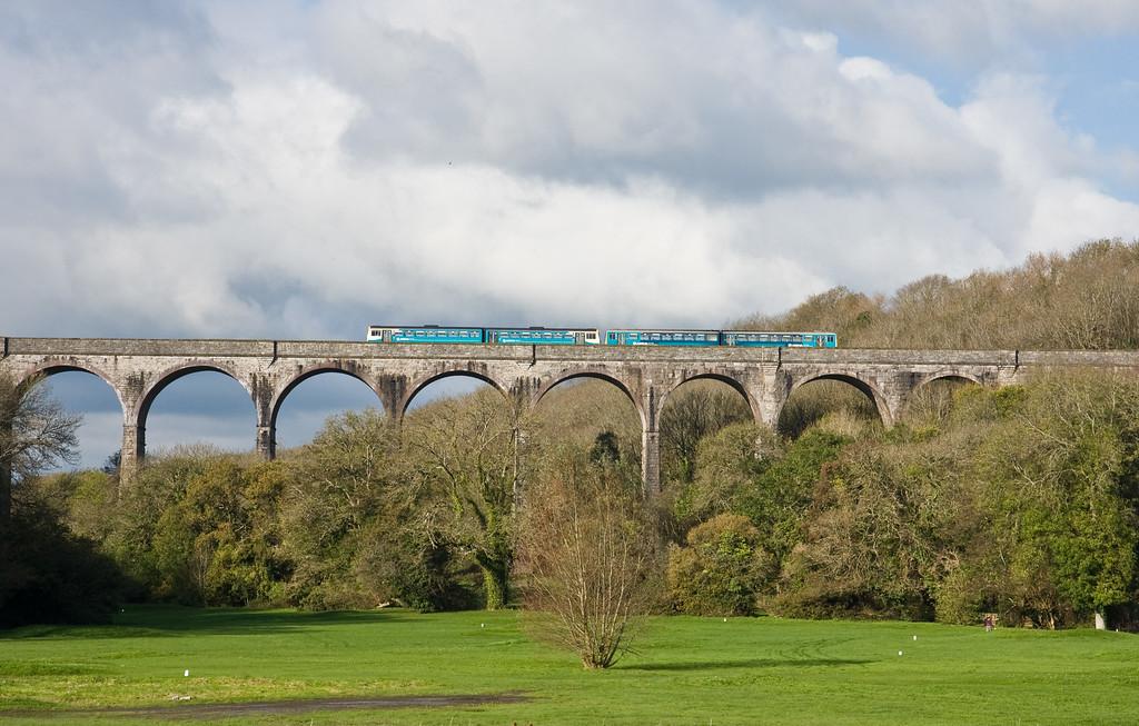 142/143, 10.38 Merthyr Tydfil-Bridgend, Porthkerry Viaduct, near Barry, 5-11-14.