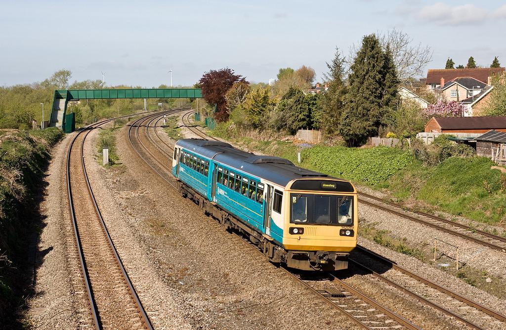 142069, 08.46 Cheltenham Spa-Maesteg, Undy, near Severn Tunnel Junction, 4-5-16.